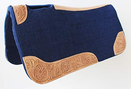 CHALLENGER Horse Saddle PAD Western Contoured Wool Felt Moisture Wicking Navy 39RT03NV