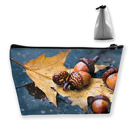 Makeup Bag Cosmetic Nuts Fruit Acorn Portable Cosmetic Bag Mobile Trapezoidal Storage Bag Travel Bags with Zipper ()