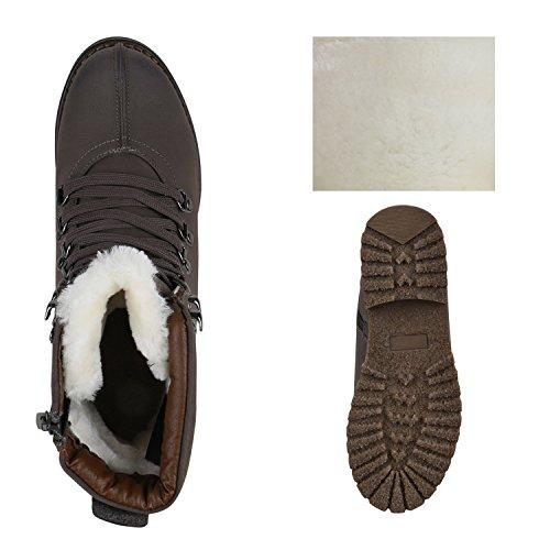 Stiefelparadies Damen Schnürstiefeletten Übergrößen Warm Gefütterte Stiefel Worker Boots Profilsohle Stiefeletten Wildleder-Optik Schuhe Flandell Grau Weiss Agueda