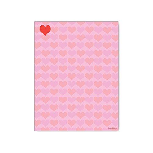 Hearts Stationery - 8.5 x 11-60 Letterhead Sheets - Hearts, Love Printer Paper - Laser & Inkjet