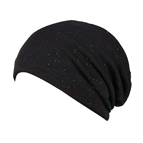 Smallrabbit Cotton Beanies Glitter Winter Wool Warm Hat Daily Slouch Chic Hat Soft Sleep Cap (Black)