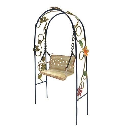 Arbor Swing Set - Enchanted Garden Decorative Metal Arbor Swing Mini Fairy Garden Figurine premium decor collectible figurine