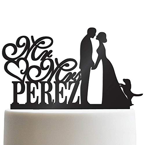 Groom Bride and Puppy Wedding Cake Topper Custom Made Wedding Favor Mr Mr With Dog Cake Topper for Wedding | Solid Color Cake Toppers (Casual Wedding Cake Topper)