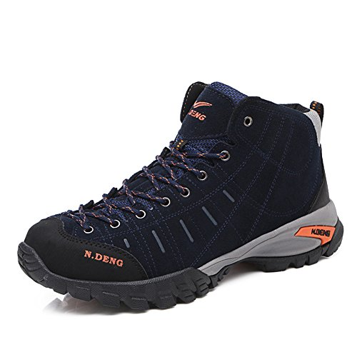 Gomnear Hiking Boots High Top Men Trekking Shoes Non Slip Outdoor Winter Warm Fur Lined Sneakers,Blue-45