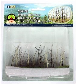 Woods Edge Trees Bare 2'' to 2.5'' N-scale 20/pk