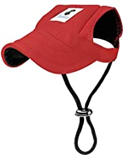 Pawaboo Dog Baseball Cap, Adjustable Dog Outdoor Sport Sun Protection Baseball Hat Cap Visor Sunbonnet Outfit with Ear Holes for Puppy Small Dogs, Samll Size