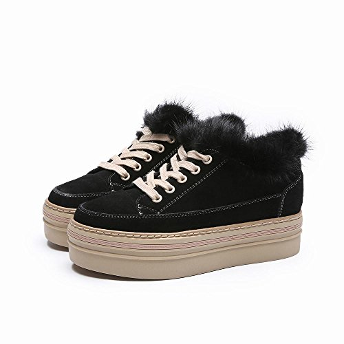 Women Flannel Shoes 'S Winter Autumn Black Casual Plus DXD Shoes Increased and Female Warm wBzXt