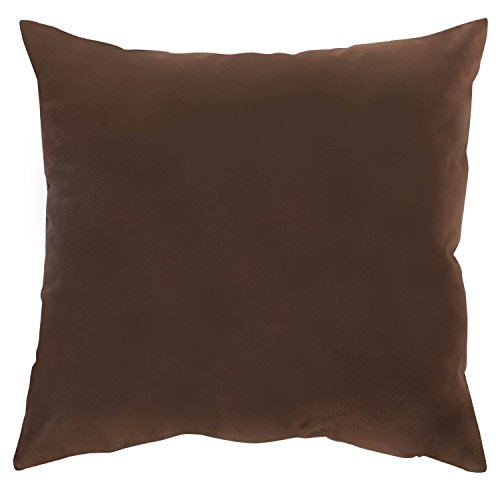 Brown Velvet Pillow - Deconovo Faux Velvet Super Soft Pillowcase Cushion Cover Home Decorative With Invisible Zipper For Bed 18 x 18 Inch Brown