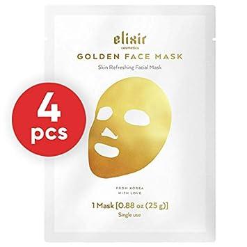 Elixir Cosmetics 24K Gold Korean Collagen Face Mask – Anti-Aging Moisturizing Peel Off Facial Sheet Mask – 4 Pack