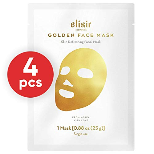 - Elixir Cosmetics 24K Gold Korean Collagen Face Mask - Anti-Aging & Moisturizing Peel Off Facial Sheet Mask - 4 Pack