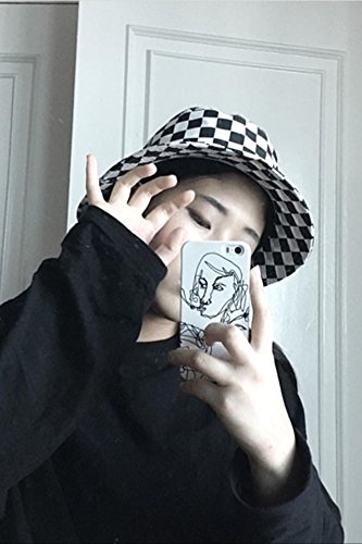 Black And White Checkered Hat (Generic Ns summer Harajuku style black and white checkerboard streets fisherman hat cap women girls lady summer shade pots cap leisure Beautiful)
