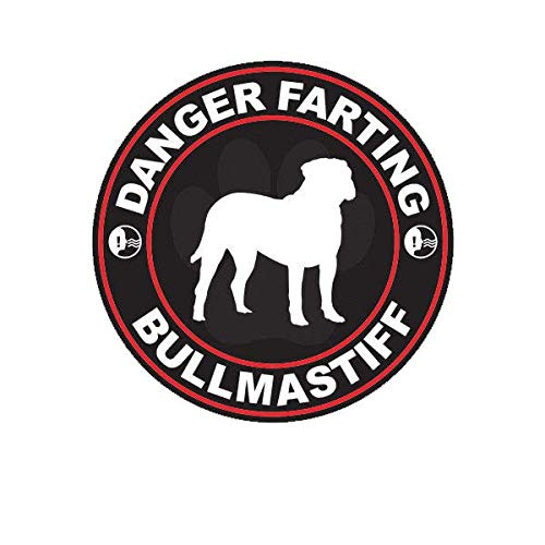 ION Graphics Danger Farting Bullmastiff Sticker Decal Vinyl Dog Canine pet 5