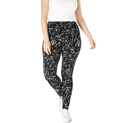 Women's Woman Within Plus Size Stretch Cotton Printed Legging - Black Batik Floral, 1X ()