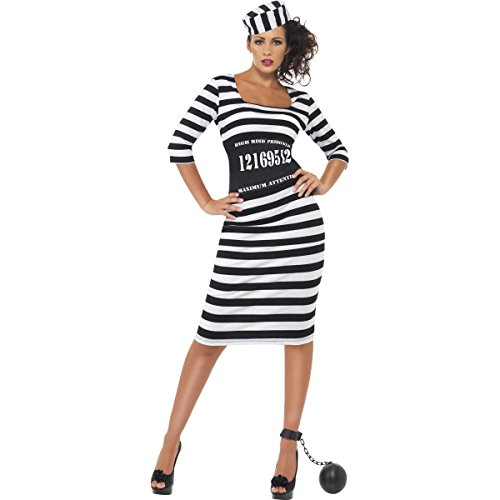 [Smiffys Sexy Convict Womens Jailbird Prison Halloween Costume Small] (Prison Halloween Costumes)