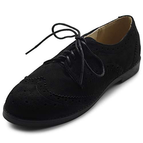 Lace Oxford Nubuck Womens - Ollio Womens Flats Shoes Wingtips Laces Up Faux Nubuck Oxfords M2920 (8.5 B(M) US, Black)