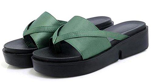 Easemax Comfortabel Midgetgig Wig Hakken Platform Teenslippers Flip Flops Groen