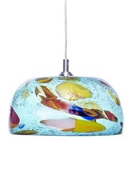 Ely's glass art Hanging Lamp, Aquamarine Bowl