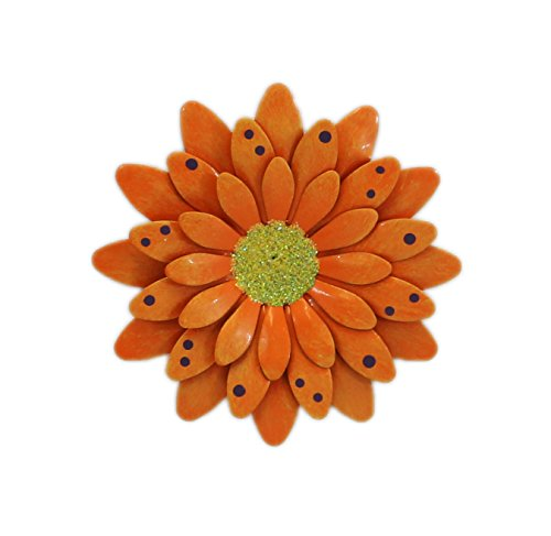 Orange Polkadot Gerbera Daisy Magnet - Set Of 3