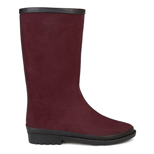 Brinley Co Womens Zeev Waterproof Faux Suede Rainboots Purple 5ePpn