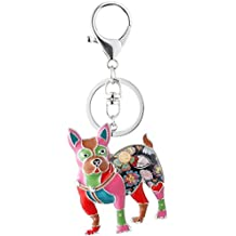 Marte&Joven Boston Terrier Keychain for Women Dog Lover Unique Enamel Dog Jewelry Gift
