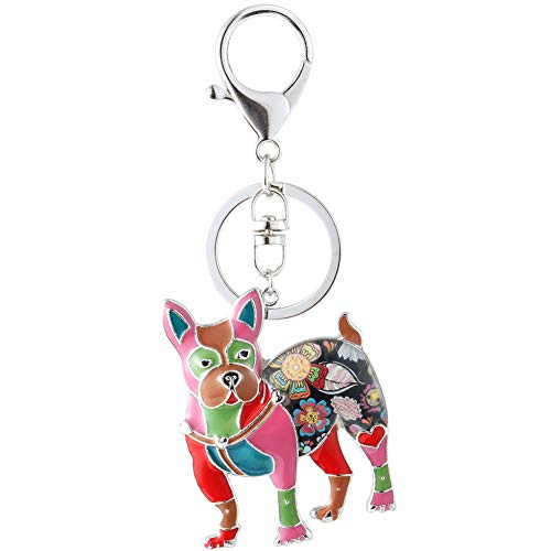 Marte&Joven Multicolor Boston Terrier Keychains for Women Unique Enamel Dog Lover Keyrings