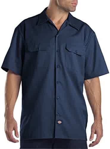 Dickies Men's Short Sleeve Work Shirt (5X-Large, Navy)