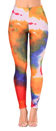 Jescakoo Women Tie Dye Print Full Length Stetch Party Costume Leggings Green L - Out Of Print Costume Patterns