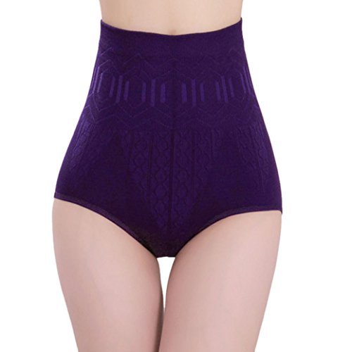Price comparison product image baskuwish High Waist Tummy Control Body Underwear Body Shaper Control Slim Tummy (Purple,  Free Size)
