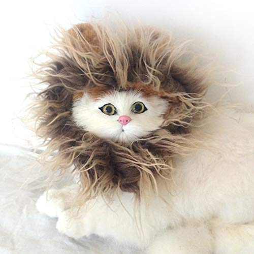 lcfun Lion Mane Costume for Cat & Dog - Pet Wig Clothes for Halloween Party ()