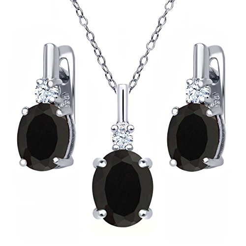 4.97 Ct Oval Black Onyx White Topaz 925 Sterling Silver Pendant Earrings Set with 18 Inch Silver Chain