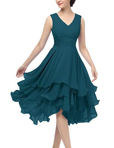 Women's Short Chiffon Beach Bridesmaid Dresses Wedding Party Dress Teal US12 (Neck Sweetheart Chiffon Beading)