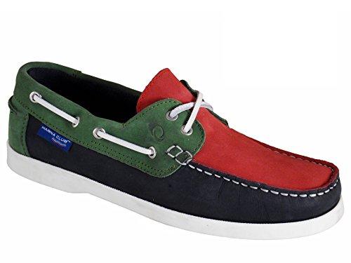 Quayside Alderney Femmes Portugais Chaussures Bateau en cuir Bleu Marine / Rouge / Vert