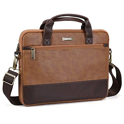 13.3 inch Laptop Shoulder Bag, Evecase PU Leather Modern Business Tote Briefcase (Leather Laptop Carrying Cases)