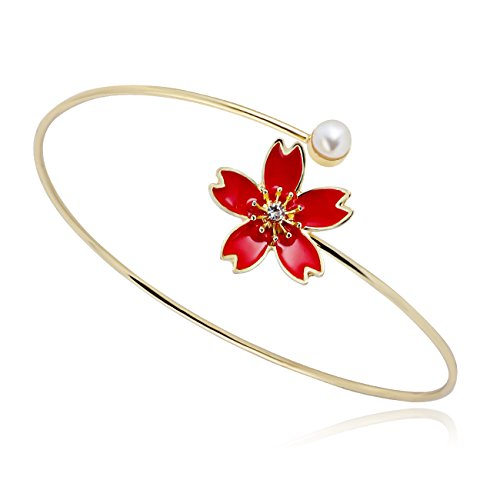 SenFai One End Red Cherry One End Pearl Classic Ladies Bracelet (Gold) ()
