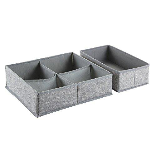 InterDesign Aldo Fabric Dresser drawer Storage Organizer for Underwear, Socks, Bras, Tights, Leggings - Set of 2, Large, 5 Compartments, Gray