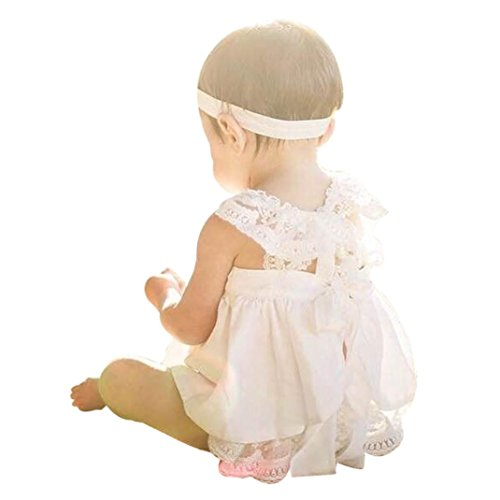 UPC 650089709273, Gotd Baby Girls Sunsuit Outfit Stripe Backless Dress + Brief Infant Clothes (24 Months, White)