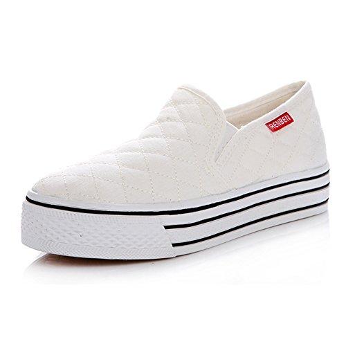 Summerwhisper Damesmode Geruite Elastische Antislip Sneakers Lage Top Slip Op Pimsoll Canvas Schoenen Wit