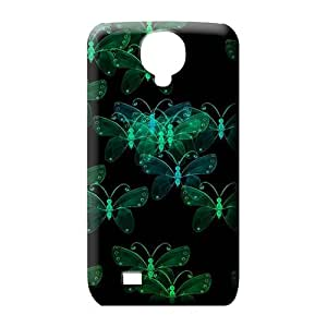 samsung galaxy s4 Impact Style For phone Protector Cases phone skins green crystal butterflies on black
