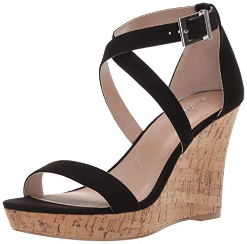 CHARLES BY CHARLES DAVID Women's Launch Wedge Sandal, Black, 8.5 M US