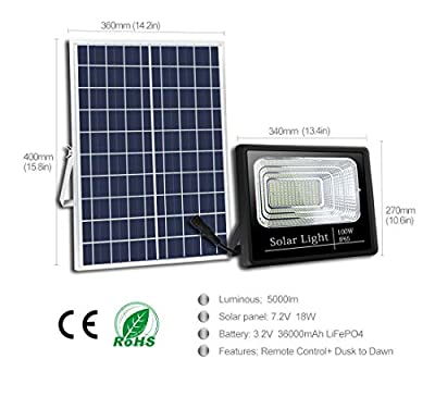 Solar Flood Lights Outdoor ?Dusk to Dawn IP65 Outdoor Waterproof Light Sensing?Remote Control Safety floodlight for Courtyard, Garden, Gutter, Swimming Pool, Access, Basketball