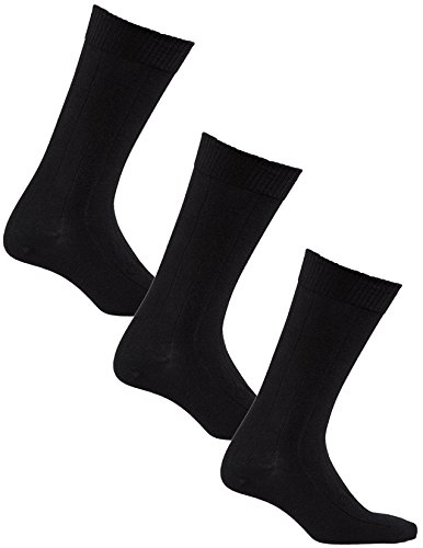Diabetic Socks | Big and Tall Mens Black Mid-Calf 3 Pack | Seamless Toe |Non-Binding Top | Sock Size 13-16 |Improve Foot Health Comfort Circulation for B&T Diabetes,Edema,Flight Travel,Swollen Feet