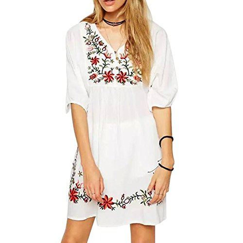 AmyDong Ladies Dress Women Mexican Ethnic Embroidered Pessant Hippie Blouse Boho Mini Dress Sleeve Embroidered Loose Dress (XL, White) (Indian Embroidered Sandals)