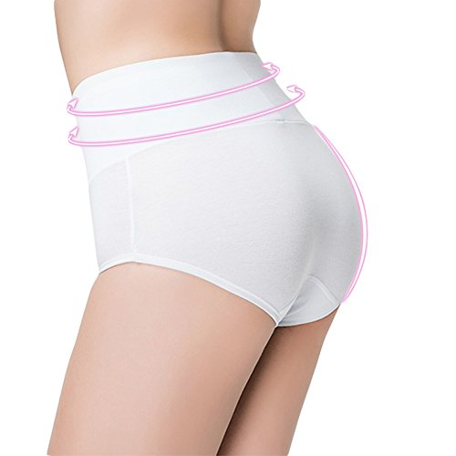 Innersy-Womens-5-Pack-High-Waist-Solid-Color-Tummy-Control-Cotton-Underpants-Briefs-Love-Yourself-First