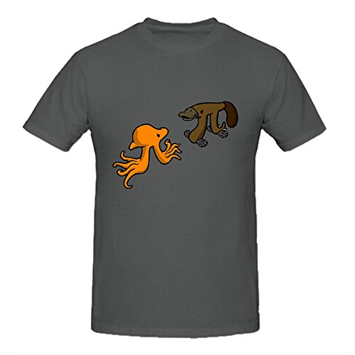 Ashome Octopi Vs Platypi Vintage T Shirts For Men Round Neck Grey