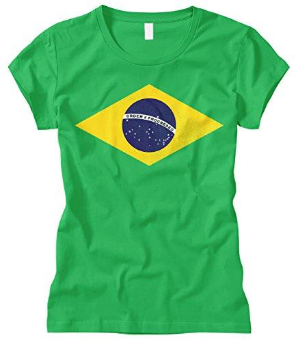 Cybertela Women's Brasil Brazil Flag ORDEM e Progresso Fitted T-Shirt (Kelly Green, Large)