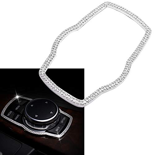 (Auto Interior Trim Cover - Xotic Tech 3D Multimedia Control Button Decor Cover Decal for BMW 1 3 4 5 7 Series X1 X3 X4 X5 X6 - Rhinestone Diamond)
