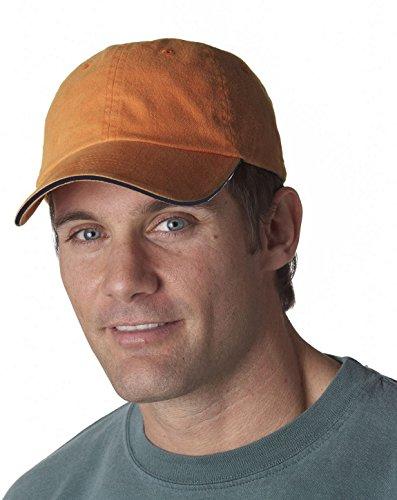 UltraClub 8112 Cotton Sandwich Cap Tangerine/Navy One Size