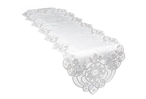 Xia Home Fashions XD17190 Antebella Lace Embroidered Cutwork Table Runner, 15 by 108-Inch, White by Xia Home Fashions