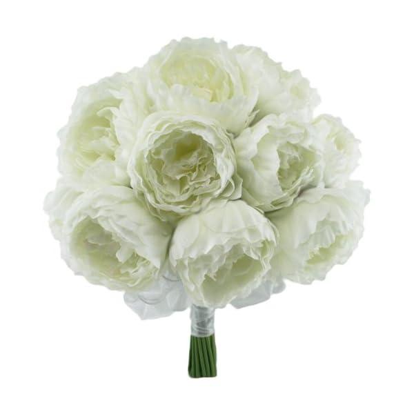 Ivory Silk Peony Hand Tie (24 Peonies) – Bridal Wedding Bouquet
