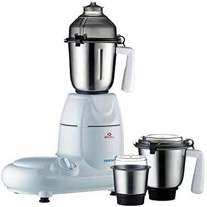 buy bajaj twister 750-watt mixer grinder with 3 jars (white) online at low  prices in india - amazon in